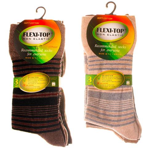 Flexi-Top Non Elastic Diabetic Socks Striped