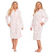 Ladies Pink Star Print Fleece Dressing Gown
