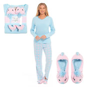 Ladies Unicorn Fleece Pyjama & Slippers Set Blue/Pink