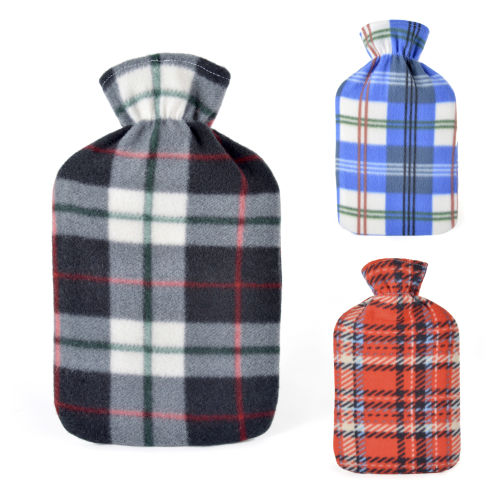 2 Litre Check Fleece Hot Water Bottle