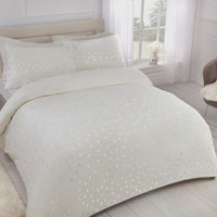 Comfy Fleece Foil Dots Duvet Set Ivory