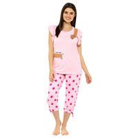 Ladies Printed Jersey Ruffle Sleeve Pyjama Set