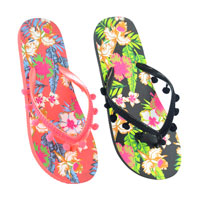 Ladies Floral Print Flip Flops with Pom Pom Strap