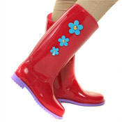 PVC Wellies with Daisy Print Dark Red/Purple