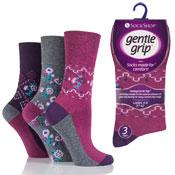 Ladies Gentle Grip Socks Sienna Folk Floral Pink Grey
