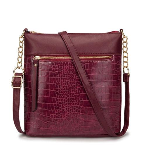 Luxury Faux Snake Skin Cross Body Bag Burgundy