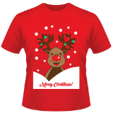 Childrens Christmas T-Shirt Rudolph Red