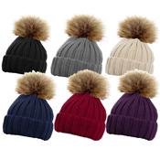 Ladies Ribbed Hat with Detachable Faux Fur Pom Pom
