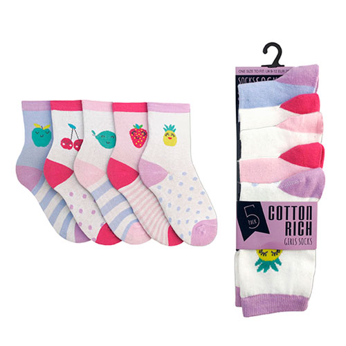 Girls Assorted Fruits Design Cotton Rich Socks