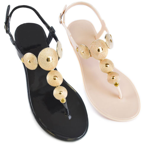 Ladies Gold Disc Strap Jelly Shoes