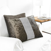 2 Brown Diamante Cushion Covers