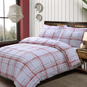 Seersucker Check Red Duvet Set