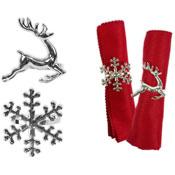 Silver Napkin Ring Reindeer/Snow Flake