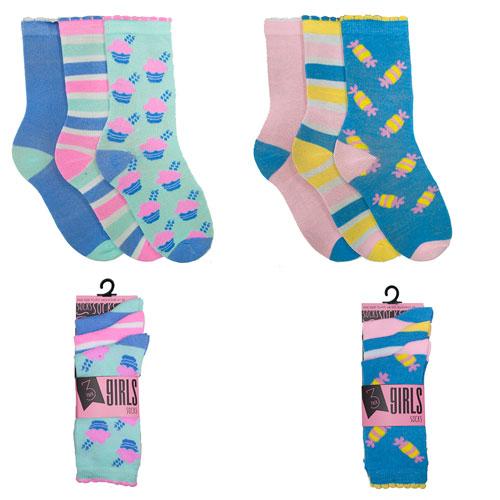 Girls Assorted Ice Cream & Sweets Design Socks