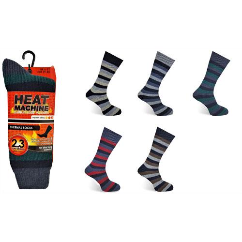Mens Heat Machine Thermal Socks Stripes Carton Price