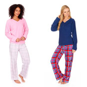 Ladies Brushed Flannel Pyjamas Plain & Check
