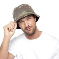 Mens Camo Print Bucket Hat