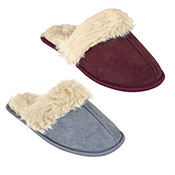 Ladies Polysuede Mule Slippers With Plush