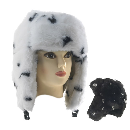 Ladies Fake Fur Trapper Hats wit Spots