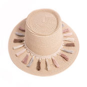 Ladies Wide Brim Straw Sun Hat With Tassel Band