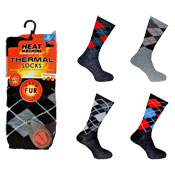Mens Heat Machine Thermal Slipper Socks Argyle
