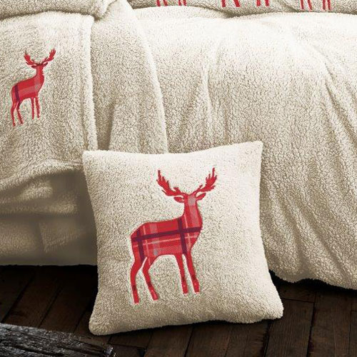 Stag Embroidered Soft Teddy Feel Cushion Cover Cream