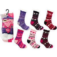 Snuggle Toes Ladies Heat Machine Socks Hearts/Crosses Carton Price