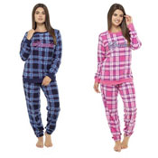 Ladies Check Print Pyjamas With Embroidery