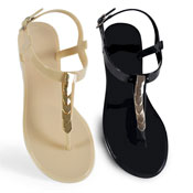 Ladies Scollop Effect Sandal Black/Nude