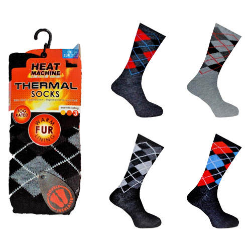 Mens Heat Machine Thermal Slipper Socks Argyle