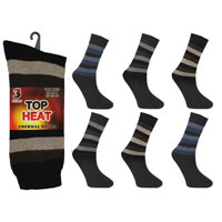 Mens Top Heat Thermal Socks Stripes