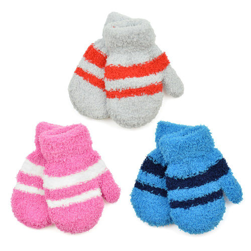 Babies Soft Touch Striped Magic Mittens