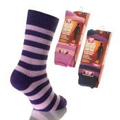 Ladies Heat Control Thermal Socks Stripes