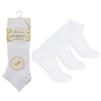 Ladies 3 Pack Bamboo Trainer Socks White