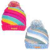 Girls Chunk Knit Stripy Bobble Hat