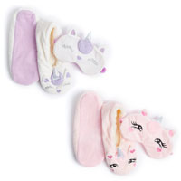 Ladies Cosy Unicorn Slipper Socks and Eye Mask Set