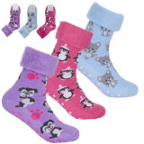 Ladies Brushed Bed Socks With Animal Design