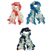 Ladies Ruched Scarves Butterfly Print