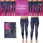 Denim Look Fashion Leggings Dark Rose