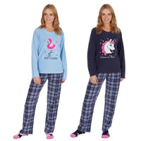 Ladies Micro Fleece Pyjama And Socks Set