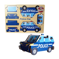Wood Puzzle - Police Car