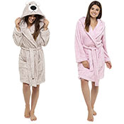 Ladies Coral Soft Fleece Dressing Gown Animal