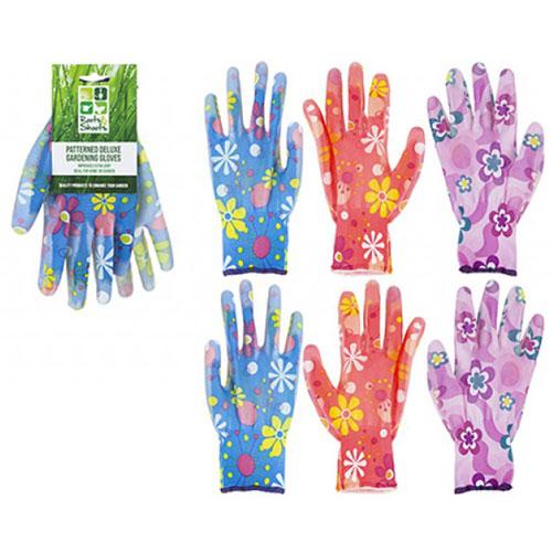 Ladies Pattern Extra Grip Garden Gloves