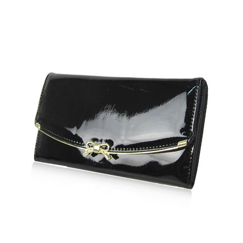Patent Bow Flap Over Purse Black