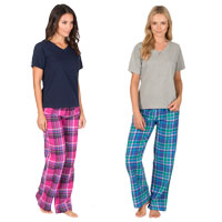 Ladies Short Sleeve Top And Flannel Bottom Pyjamas