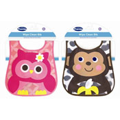 Baby Owl/Monkey Design  Wipe Clean Bib