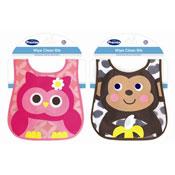 Baby Owl/Monkey Design  Wipe Clean Bib