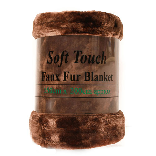 Faux Fur Mink Chocolate Blanket
