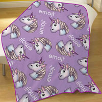 Official Emoji Unicorn Fleece Blanket