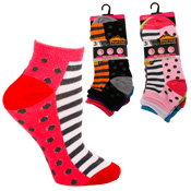 Ladies Prohike Trainer Socks Stripe & Spots Carton Price